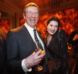 """Newell smiles with Arterton at the party following the premiere of """"Prince of Persia: The Sands of Time"""" in Hollywood"""