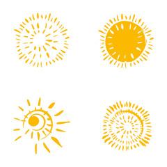 Four hand drawn symbols of the sun.