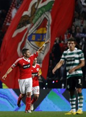 Benfica's Javi Garcia celebrates his goal against Sporting during their Portuguese Premier League soccer match at Luz stadium in Lisbon