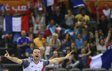 Joli of France celebrates a goal against Sweden during their preliminary round of the 24th men's handball World Championship in Doha