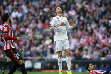 Real Madrid's Cristiano Ronaldo reacts during their Spanish first division soccer match at San Mames stadium in Bilbao