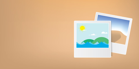 Banner photos of the sea and desert mountains, symbols of the past, memories, and travel.illustration vector. Travel concept.