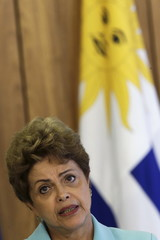 Brazilian President Rousseff speaks during a meeting with Uruguayan President Vazquez at the Planalto Palace in Brasilia