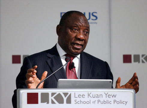 South African Deputy President Cyril Ramaphosa speaks during a lecture at the Lee Kuan Yew School of Public Policy in Singapore