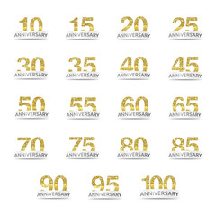 Isolated golden glitter numbers with word anniversary icon set vector illustration on white background. Collection of greetting card elements.