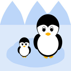 A vector image of a mother penguin with a child penguin in the sea