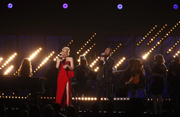 "Gwen Stefani and Adam Levine perform ""My Heart is Open"" at the 57th annual Grammy Awards in Los Angeles"