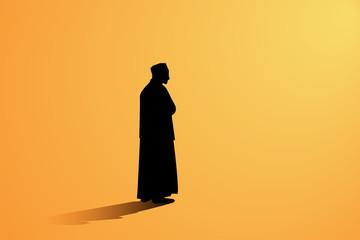 Islamic man praying Muslim Prayer
