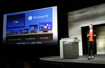 Microsoft Corp's Ashley Frank talks about Windows 10 at the annual shareholders' meeting in Bellevue, Washington