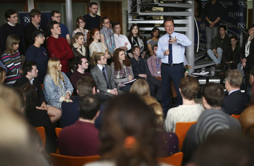 Britain's Prime Minister David Cameron addresses students at Exeter University in Exeter, Britain