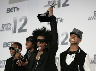 Mindless Behavior poses with their Coca Cola Viewer Choice award backstage at the 2012 BET Awards in Los Angeles
