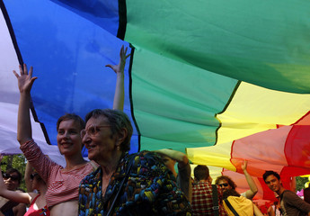 People take part in the annual gay pride parade in Budapest