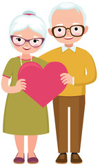 Senior married couple of lovers in full length hold the symbol of love heart