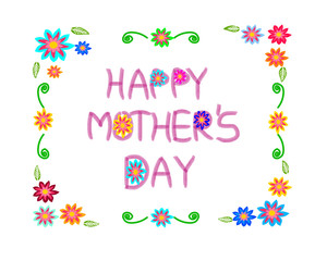 Happy Mother's day with a flowers border