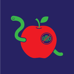 Apple Worm simple vector no GMO