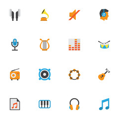 Audio Flat Icons Set. Collection Of Ear Muffs, Loudspeaker, Shellac And Other Elements. Also Includes Symbols Such As Shellac, Play, Male.
