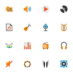 Multimedia Flat Icons Set. Collection Of Button, Portfolio, Controlling And Other Elements. Also Includes Symbols Such As Archive, Vinyl, Audio.