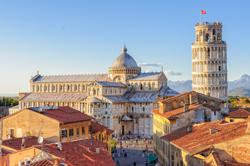 Cathedral (Duomo) and the Leaning Tower photographed from above the roofs, from the Grand Hotel Duomo - Pisa, Tuscany, Italy Wall mural