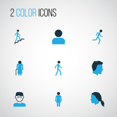 Person Colorful Icons Set. Collection Of Head, Female, Old And Other Elements. Also Includes Symbols Such As Woman, Personal, Profile.