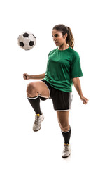 Soccer woman on green uniform isolated on white background