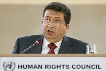 Egyptian vice-minister of Justice Elsherif addresses the high level segment of the 16th session of the Human Rights Council at the United Nations European headquarters in Geneva