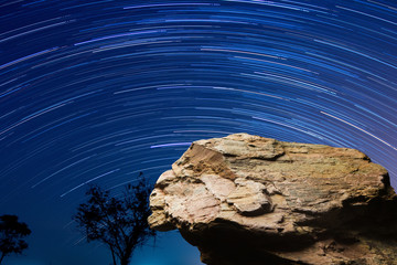 Standing empty on top of a mountain view, Blank space cliff edge with star trails