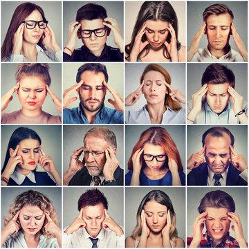 group of stressed sad people men and women having headache