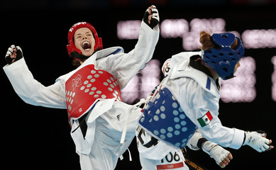 Croatia's Lucija Zaninovic celebrates after winning her women's -49kg bronze medal taekwondo match against Mexico's Jannet Alegria Pena during the London 2012 Olympic Games at the ExCeL arena