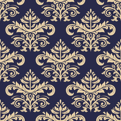 Classic seamless vector navy blue and golden pattern. Traditional orient ornament. Classic vintage background