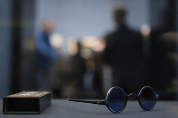 A picture shows the glasses of architect Schinkel during exhibition of re-surfaced art in Old National Gallery in Berlin
