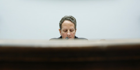 US Treasury Secretary Geithner sits for testimony before the House Financial Services Committee on Capitol Hill in Washington