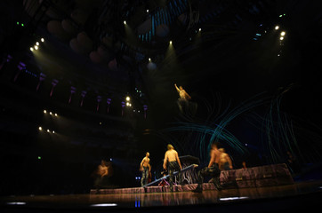 Artists perform during a dress rehearsal for 'Amaluna', a show by Cirque du Soleil in London