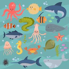 Sea life underwater cartoon animals cute marine characters fish aquarium tropical aquatic vector illustration.