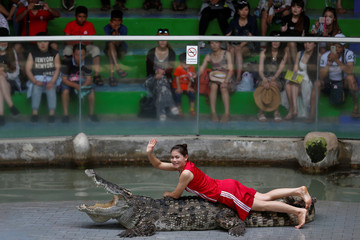 A zoo performer smiles as she poses on a crocodile during a performance for tourists at the Sriracha Tiger Zoo