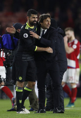 Chelsea manager Antonio Conte and Diego Costa celebrate after the game