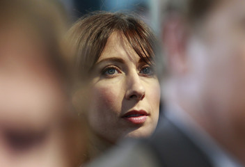 Samantha Cameron, wife of Britain's leader of the opposition Conservative party, David Cameron, listens during the launch of the Party's manifesto in London