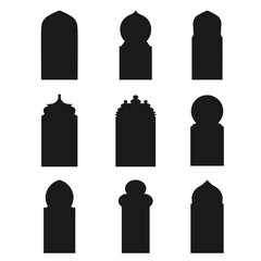 Arabic arch windows and doors , vector silhouettes