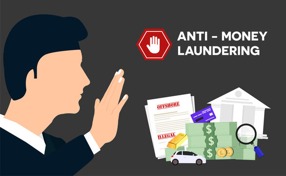 Businessman refusing with him hand and anti money laundering AML concept illustrator