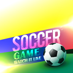 soccer game poster design with bright colors