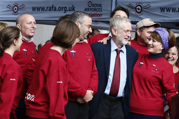 Britain's opposition Labour Party leader Corbyn speakes with members of the Royal Airforce Association after attending a national service of commemoration to mark the 75th anniversary of the Battle of Britain at St Paul's Cathedral in central London