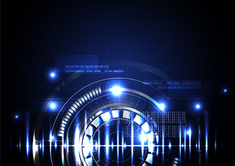 Technological abstract illuminated digital hud background