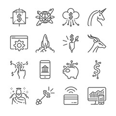 Fintech and Startup vector line icon set. Included the icons as unicorn, fintech, finance app, cryptocurrency and more.