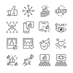 Social network vector line icon set.  Included the icons as  like, live broadcasting, share, number of views and more.