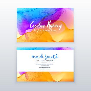 creative watercolor business card design template