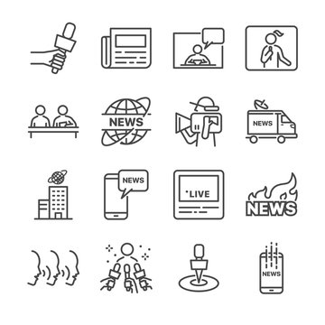 News vector line icon set.  Included the icons as