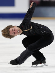 Bacchini of Italy performs during the men's preliminary round free skating event at the ISU World Figure Skating Championships in Moscow