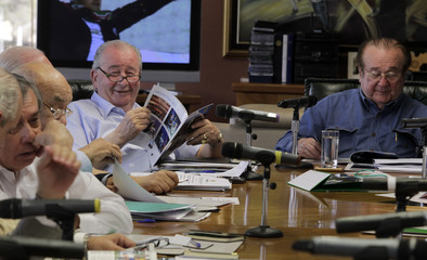 Julio Grondona, president of the Argentine Soccer Association, and Nicolas Leoz, president of the South American Soccer Confederation (CONMEBOL), participate in a meeting of the CONMEBOL's executive committee at their headquarters in Luque