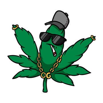 Cartoon Gangster Cannabis Leaf Vector Illustration