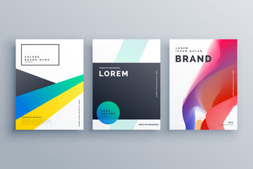creative business branding design with three brochures in minimal style for presentation