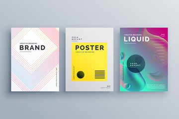 awesome minimal brochure template design set with style of lines, fluid colors in size A4